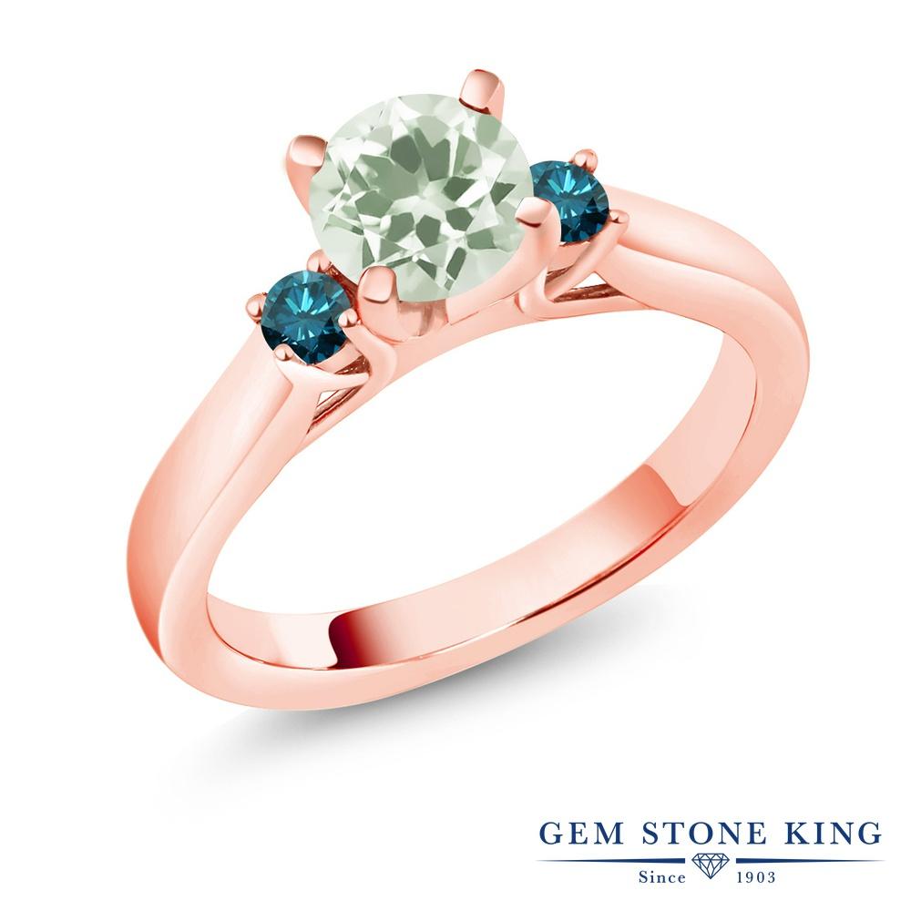 Gem Stone King 1.15カラット 天然 プラジオライト (グリーンアメジスト) 天然 ブルーダイヤモンド シルバー925 ピンクゴールドコーティング 指輪 リング レディース スリーストーン シンプル 天然石 金属アレルギー対応 誕生日プレゼント