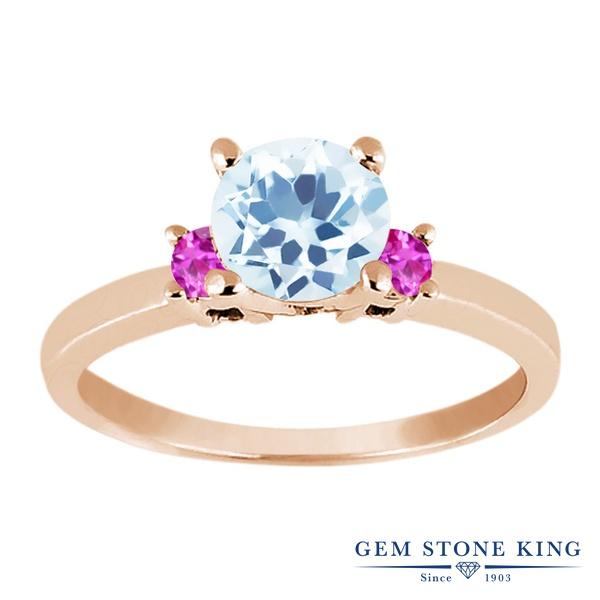 Gem Stone King 1.35カラット 天然 スカイブルートパーズ 天然 ピンクサファイア シルバー925 ピンクゴールドコーティング 指輪 リング レディース 大粒 シンプル スリーストーン 天然石 11月 誕生石 金属アレルギー対応 誕生日プレゼント