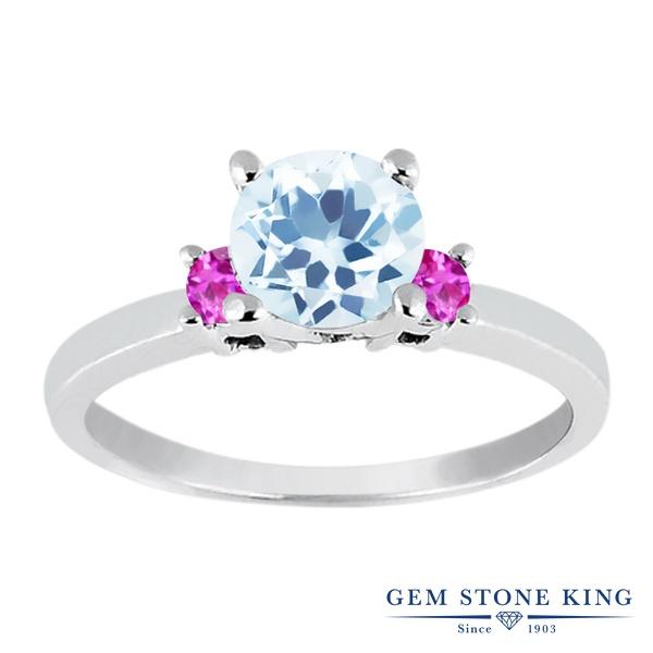1.35カラット 天然 スカイブルートパーズ 指輪 レディース リング ピンクサファイア シルバー925 ブランド おしゃれ 水色 大粒 シンプル スリーストーン 天然石 11月 誕生石 婚約指輪 エンゲージリング