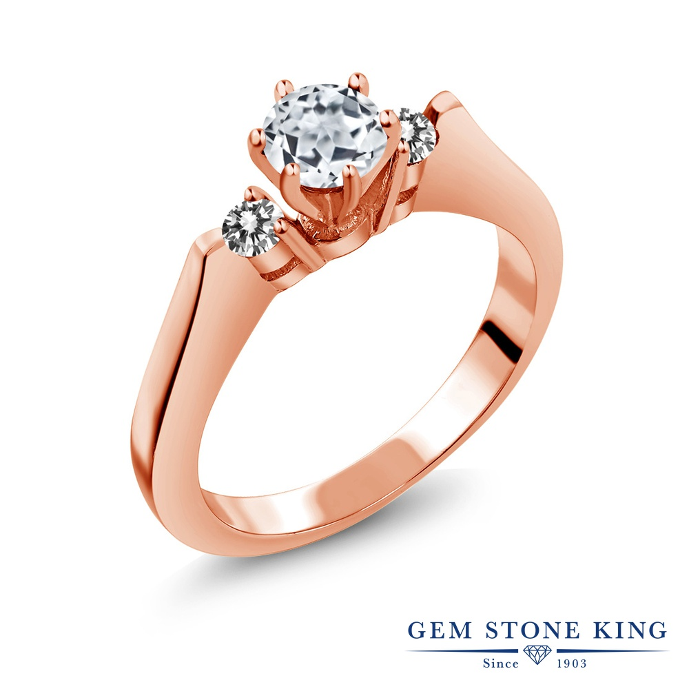Gem Stone King 0.73カラット 天然 トパーズ (無色透明) 天然 ダイヤモンド シルバー925 ピンクゴールドコーティング 指輪 リング レディース スリーストーン シンプル 天然石 11月 誕生石 金属アレルギー対応 誕生日プレゼント