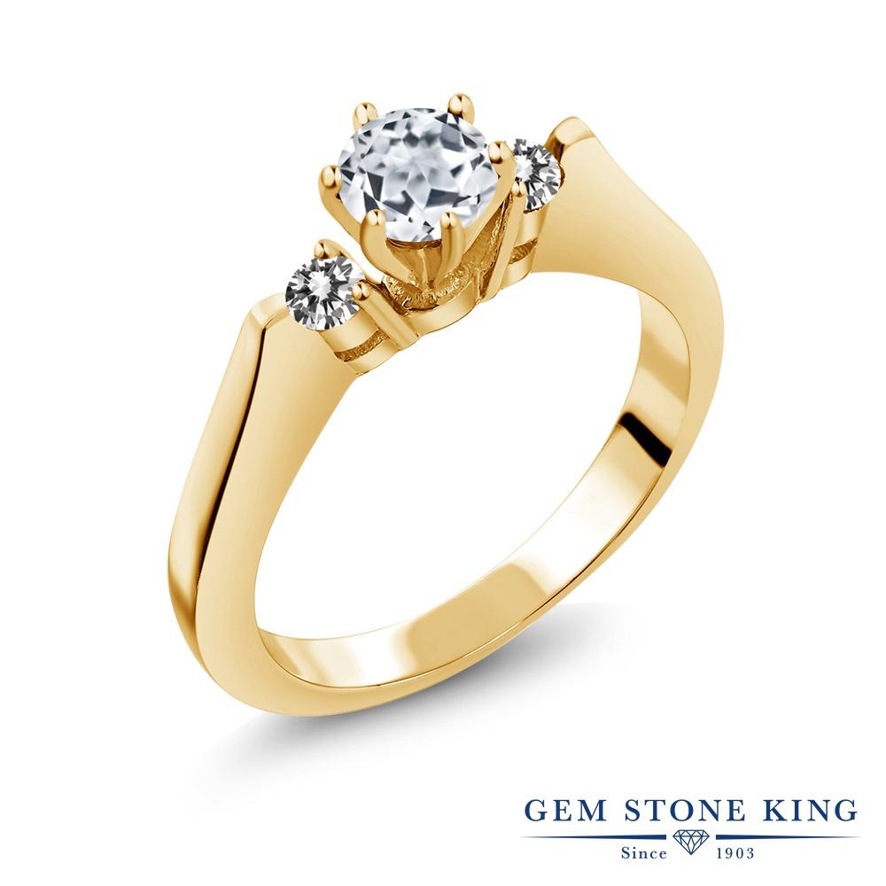 Gem Stone King 0.73カラット 天然 トパーズ (無色透明) 天然 ダイヤモンド シルバー925 イエローゴールドコーティング 指輪 リング レディース スリーストーン シンプル 天然石 11月 誕生石 金属アレルギー対応 誕生日プレゼント