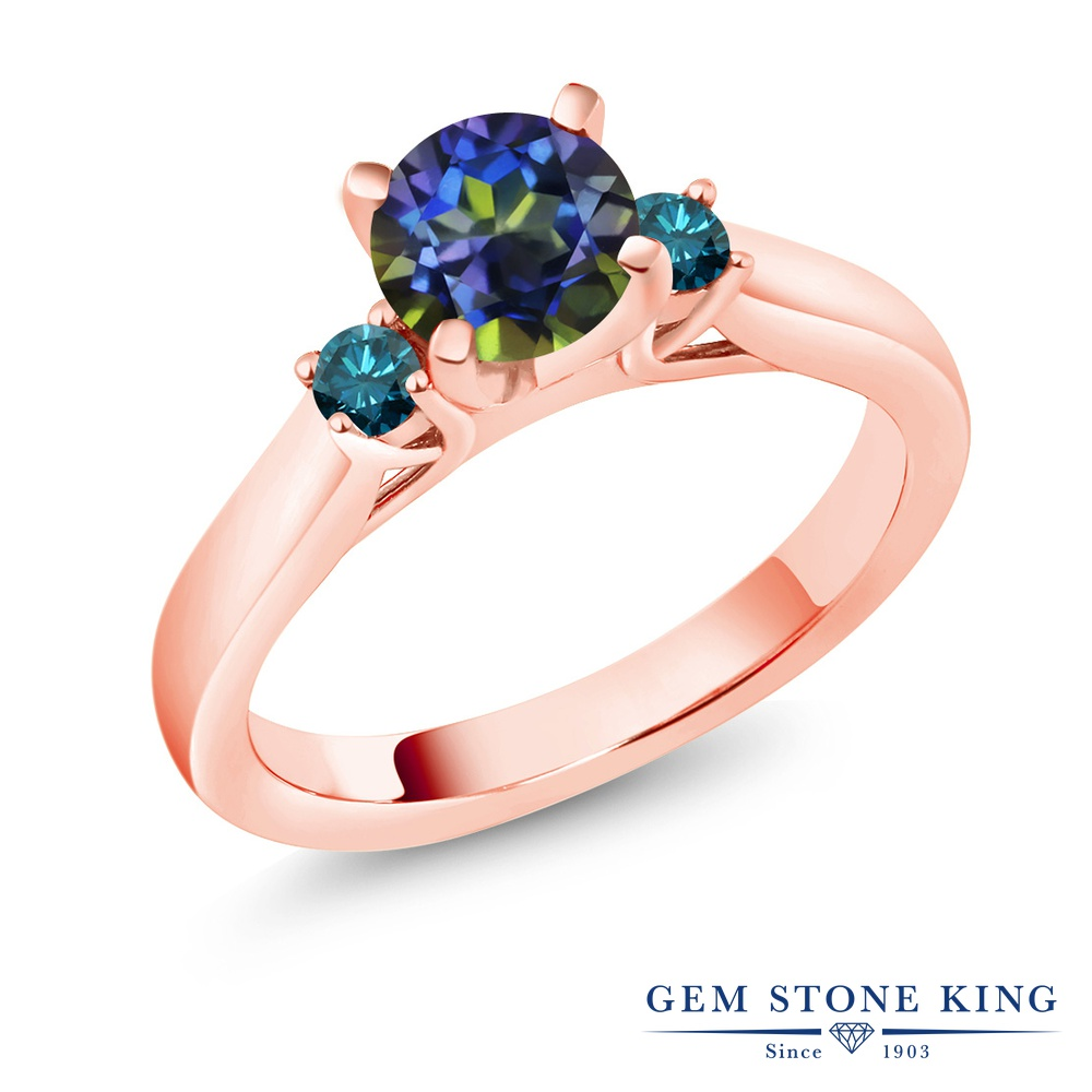 (ブルー) エンゲージリング ピンクゴールド 1.2カラット 指輪 ブランド 加工 リング おしゃれ ブルーダイヤモンド 大粒 ミスティックトパーズ シルバー925 天然 婚約指輪 青 シンプル 天然石 レディース スリーストーン