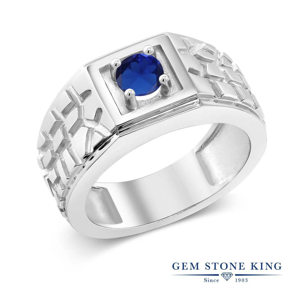 0.6カラット 合成サファイア 指輪 レディース リング シルバー925 ブランド おしゃれ 四角い 一粒 青 シンプル 太め 太い ソリティア 金属アレルギー対応