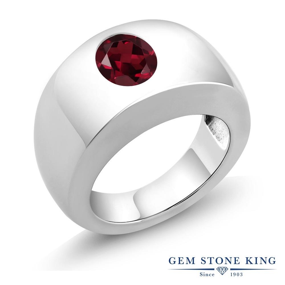 Gem Stone King 2カラット 天然 ロードライトガーネット シルバー925 指輪 リング レディース 大粒 一粒 シンプル ソリティア 天然石 金属アレルギー対応 誕生日プレゼント