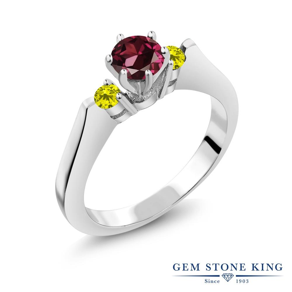 Gem Stone King 0.77カラット 天然 ロードライトガーネット 天然 イエローダイヤモンド シルバー925 指輪 リング レディース スリーストーン シンプル 天然石 金属アレルギー対応 誕生日プレゼント