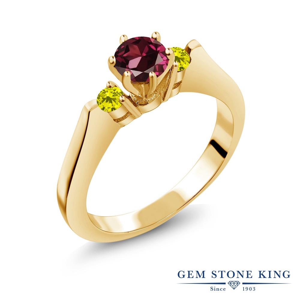 Gem Stone King 0.77カラット 天然 ロードライトガーネット 天然 イエローダイヤモンド シルバー925 イエローゴールドコーティング 指輪 リング レディース スリーストーン シンプル 天然石 金属アレルギー対応 誕生日プレゼント