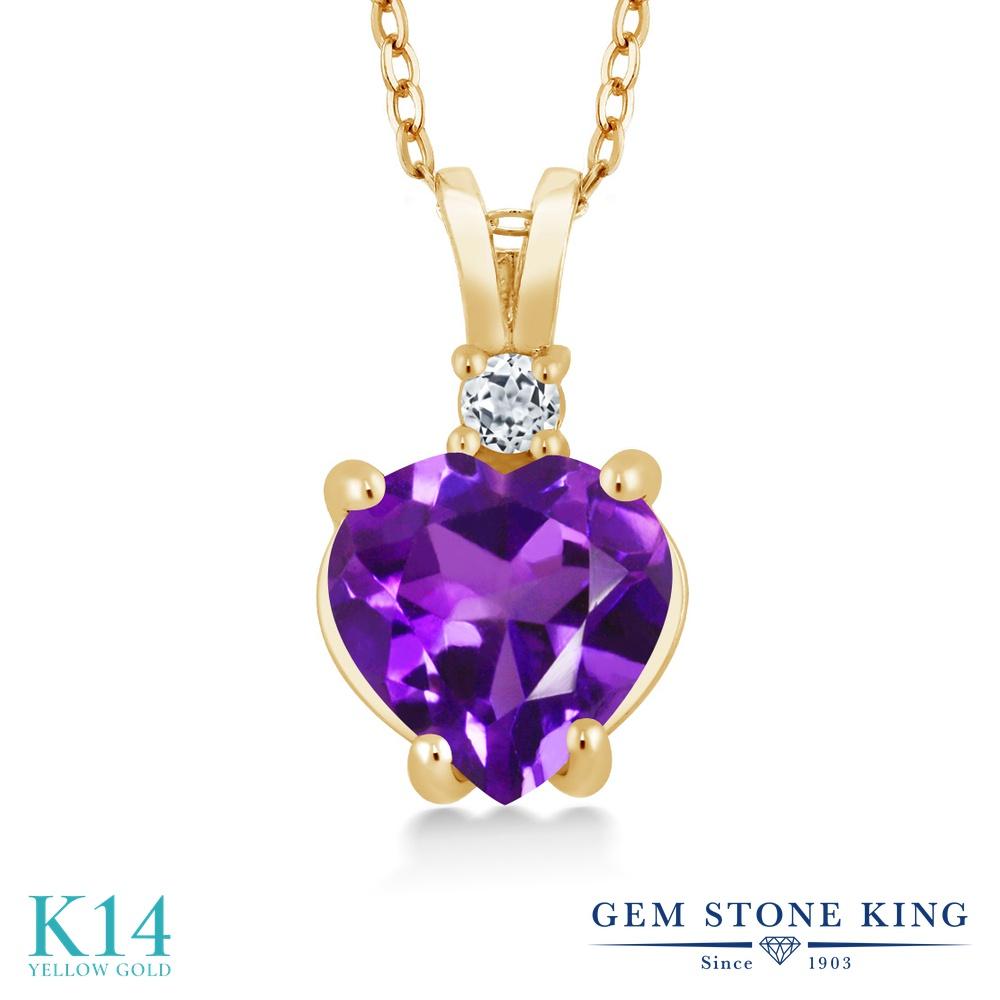 Gem Stone King 1.68カラット 天然 アメジスト 天然 トパーズ (無色透明) 14金 イエローゴールド(K14) ネックレス ペンダント レディース 大粒 シンプル 天然石 2月 誕生石 金属アレルギー対応 誕生日プレゼント