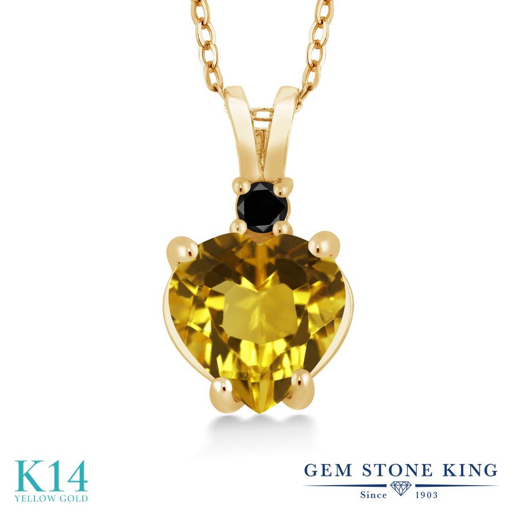 Gem Stone King 1.67カラット 天然 シトリン 天然ブラックダイヤモンド 14金 イエローゴールド(K14) ネックレス ペンダント レディース 大粒 シンプル 天然石 11月 誕生石 金属アレルギー対応 誕生日プレゼント
