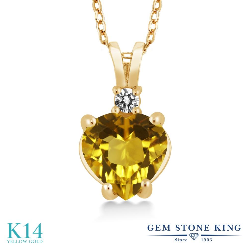 Gem Stone King 1.67カラット 天然 シトリン 天然 ダイヤモンド 14金 イエローゴールド(K14) ネックレス ペンダント レディース 大粒 シンプル 天然石 11月 誕生石 金属アレルギー対応 誕生日プレゼント