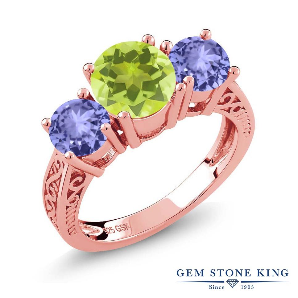 Gem Stone King 2.12カラット 天然 レモンクォーツ 天然石 タンザナイト 指輪 リング レディース シルバー925 ピンクゴールド 加工 大粒 スリーストーン シンプル 金属アレルギー対応