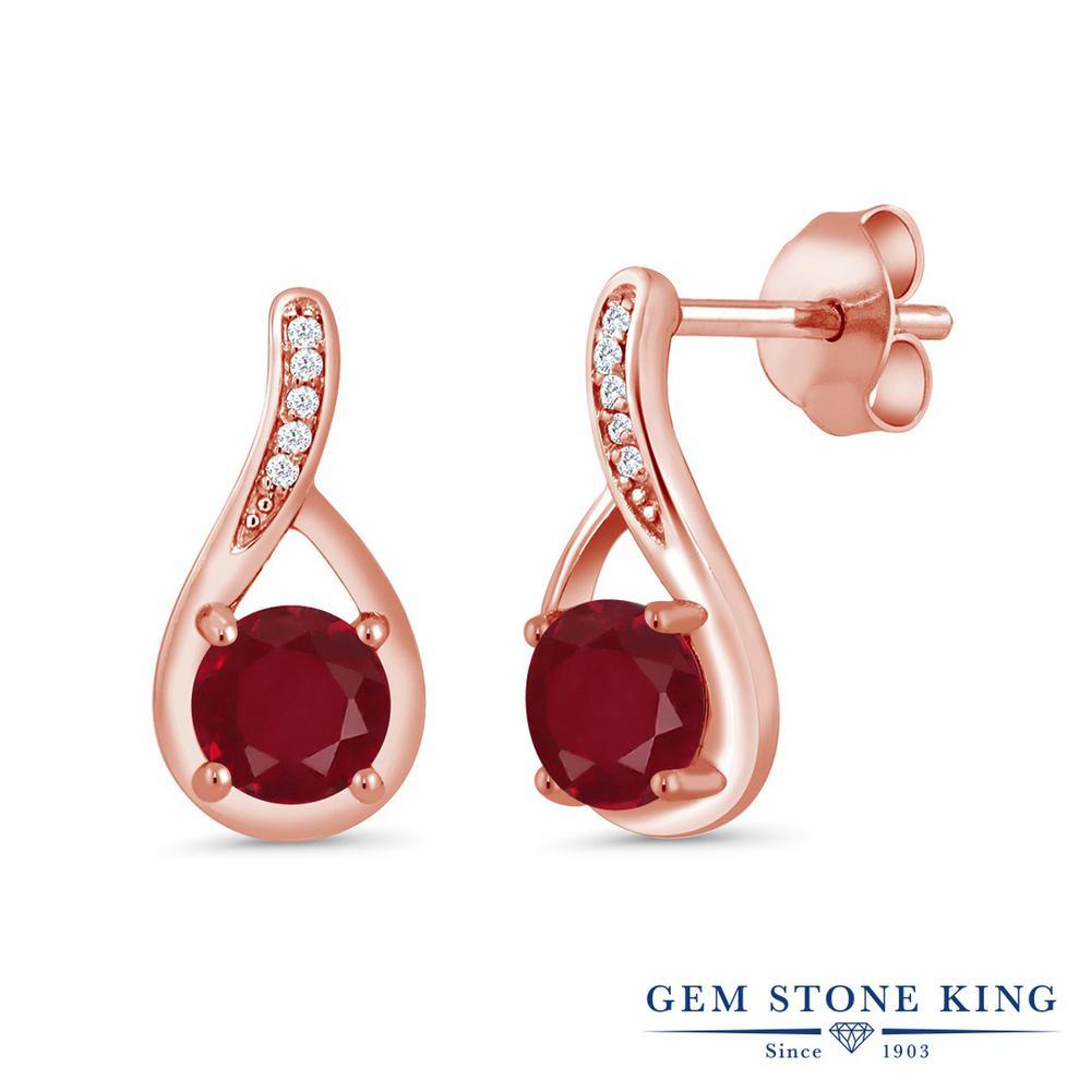 Gem Stone King 1.17カラット 天然 ルビー 天然 ダイヤモンド シルバー925 ピンクゴールドコーティング ピアス レディース ぶら下がり 天然石 7月 誕生石 金属アレルギー対応 誕生日プレゼント