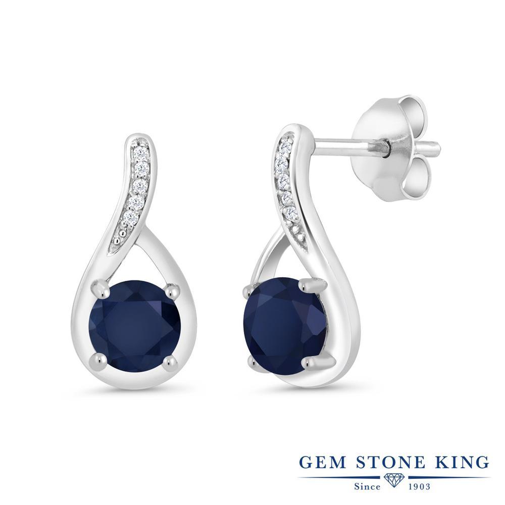Gem Stone King 1.27カラット 天然 サファイア 天然 ダイヤモンド シルバー925 ピアス レディース ぶら下がり 天然石 9月 誕生石 金属アレルギー対応 誕生日プレゼント