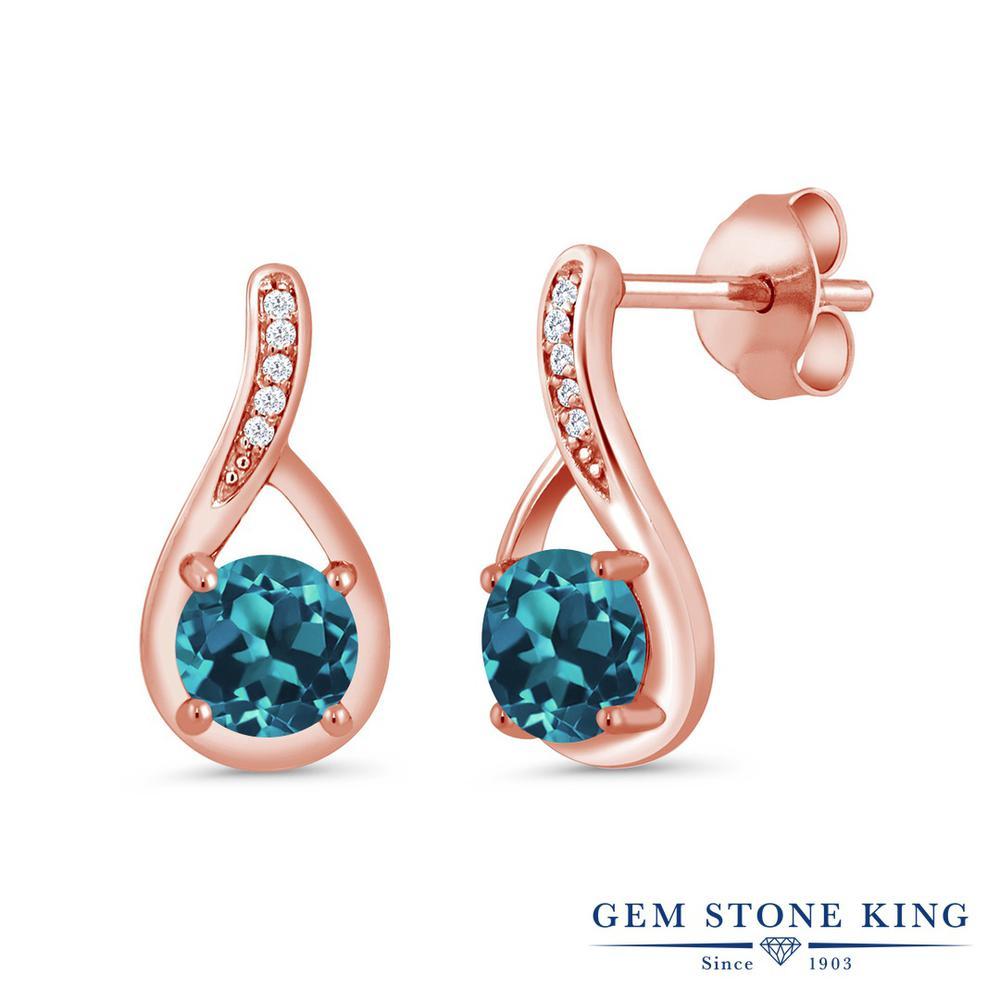 Gem Stone King 1.07カラット 天然 ロンドンブルートパーズ 天然 ダイヤモンド シルバー925 ピンクゴールドコーティング ピアス レディース 小粒 ぶら下がり 天然石 11月 誕生石 金属アレルギー対応 誕生日プレゼント