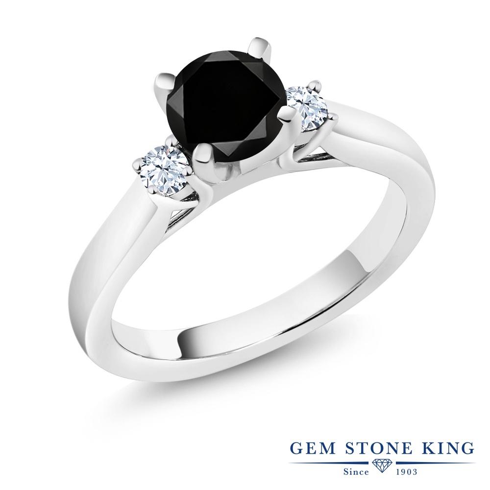 Gem Stone King 1.15カラット 天然ブラックダイヤモンド 合成ホワイトサファイア (ダイヤのような無色透明) シルバー925 指輪 リング レディース ブラック ダイヤ 大粒 シンプル スリーストーン 天然石 4月 誕生石 金属アレルギー対応 誕生日プレゼント