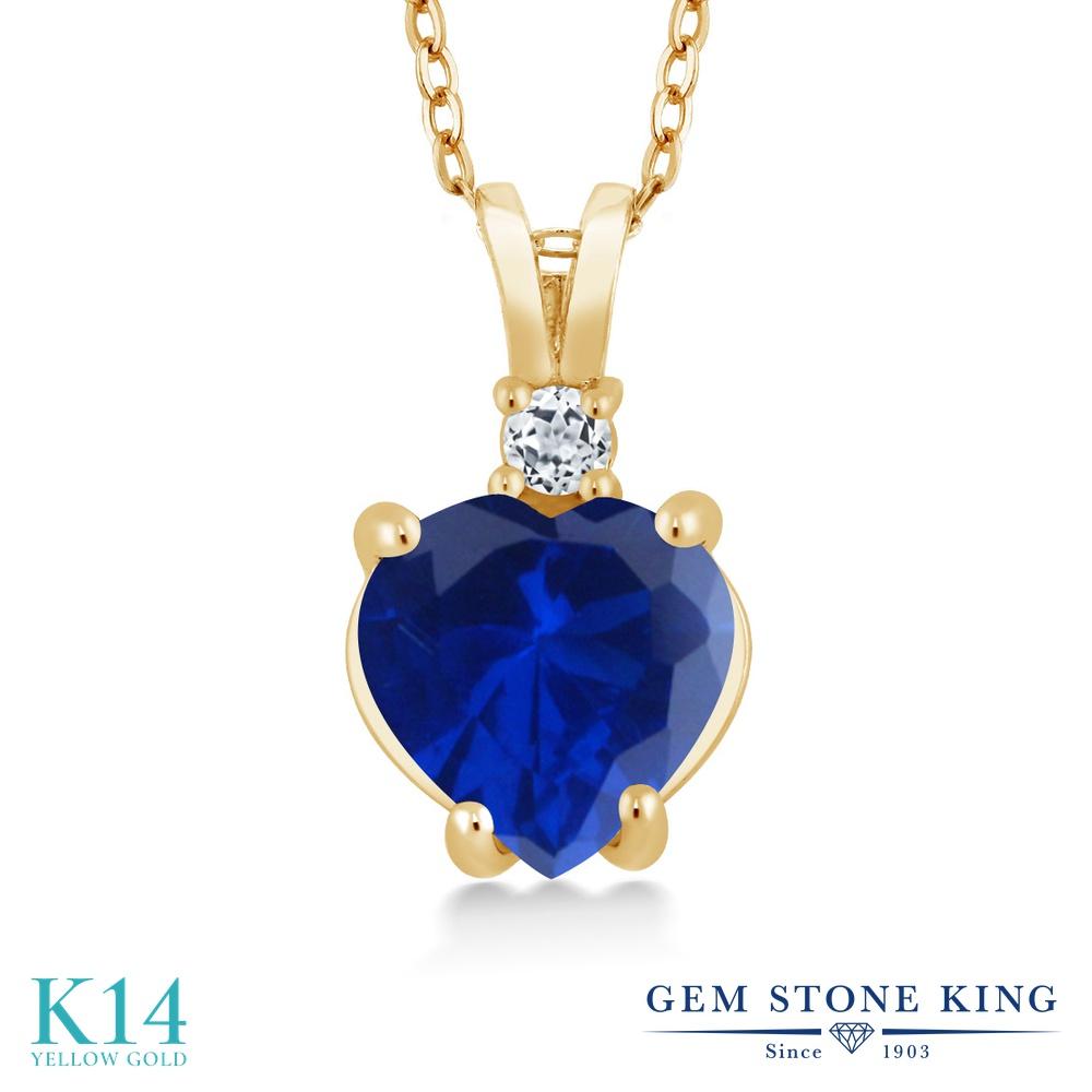 Gem Stone King 2.38カラット シミュレイテッド サファイア 天然 トパーズ (無色透明) 14金 イエローゴールド(K14) ネックレス ペンダント レディース 大粒 シンプル 金属アレルギー対応 誕生日プレゼント