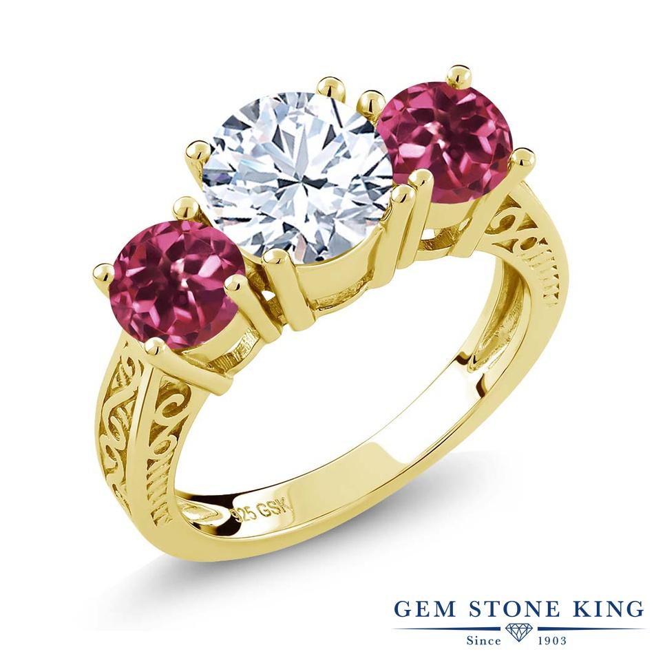 【10%OFF】 Gem Stone King 2.4カラット 天然 トパーズ AAグレード ピンクトルマリン 指輪 リング レディース シルバー925 イエローゴールド 加工 大粒 スリーストーン シンプル 天然石 11月 誕生石 クリスマスプレゼント 女性 彼女 妻 誕生日