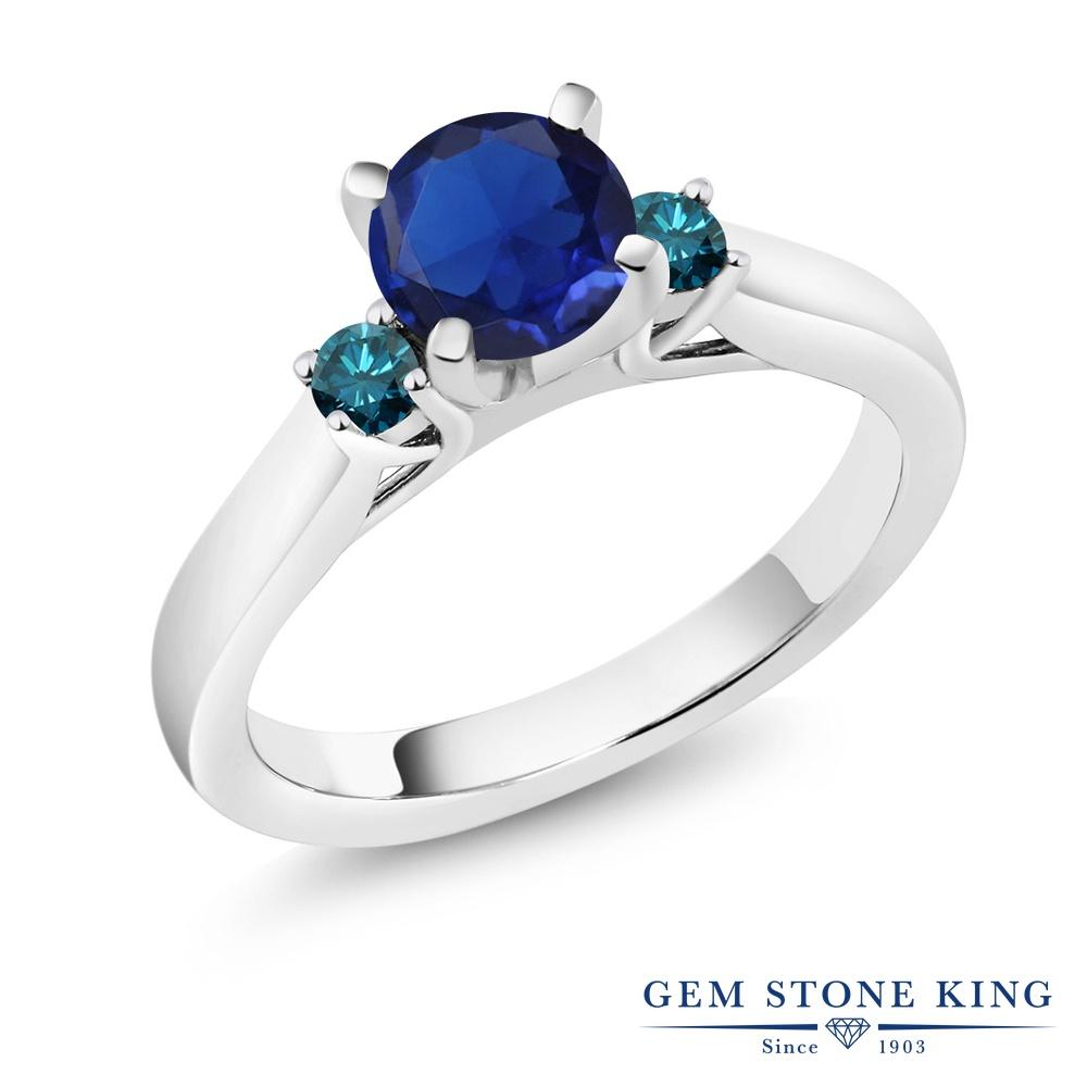 0.95カラット 合成サファイア 指輪 レディース リング 天然 ブルーダイヤモンド シルバー925 ブランド おしゃれ スリーストーン 青 シンプル 婚約指輪 エンゲージリング