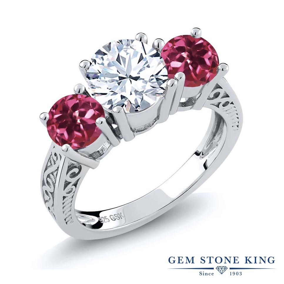 Gem Stone King 2.4カラット 天然 トパーズ (無色透明) AAAグレード 天然 ピンクトルマリン シルバー925 指輪 リング レディース 大粒 スリーストーン シンプル 天然石 11月 誕生石 金属アレルギー対応 誕生日プレゼント