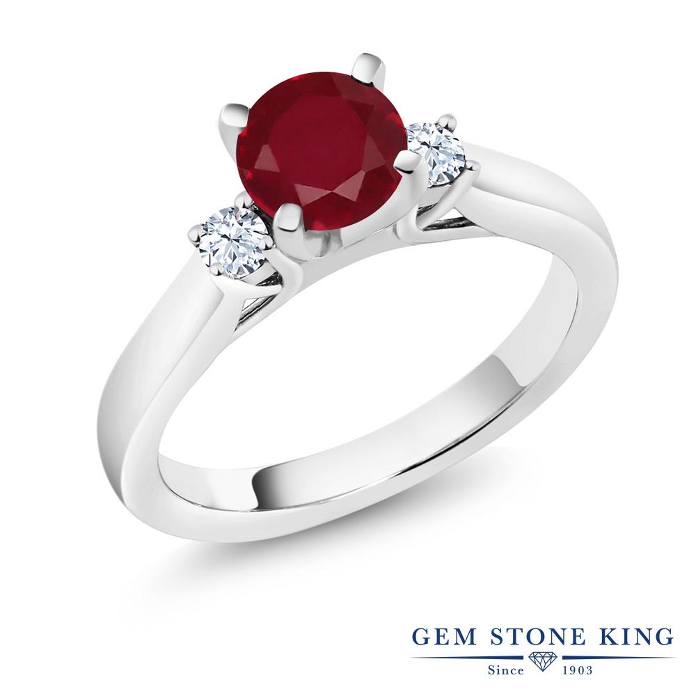 1.1カラット 天然 ルビー 指輪 レディース リング 合成ホワイトサファイア シルバー925 ブランド おしゃれ 赤 大粒 シンプル スリーストーン 天然石 7月 誕生石 婚約指輪 エンゲージリング