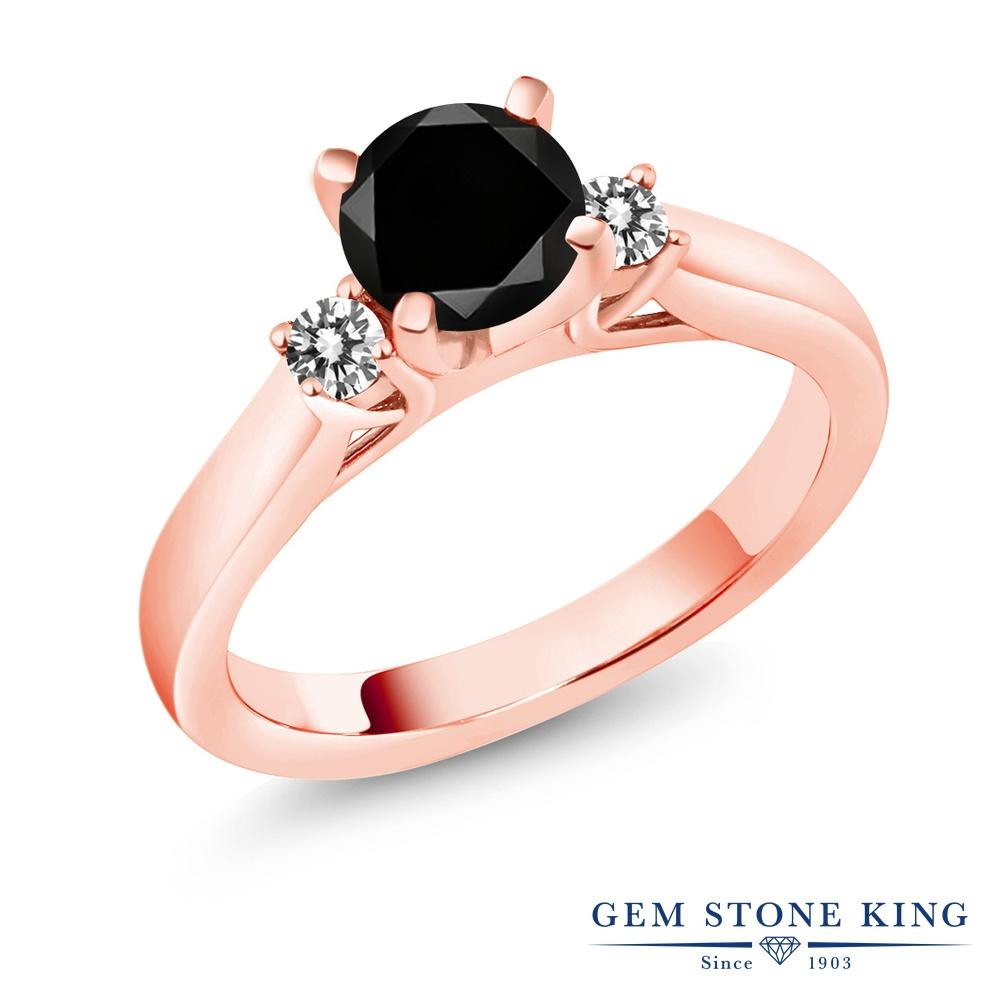 【クーポンで10%OFF】 Gem Stone King 1.25カラット 天然ブラックダイヤモンド シルバー925 ピンクゴールドコーティング 指輪 リング レディース ブラック ダイヤ 大粒 スリーストーン シンプル 天然石 4月 誕生石 金属アレルギー対応 誕生日プレゼント
