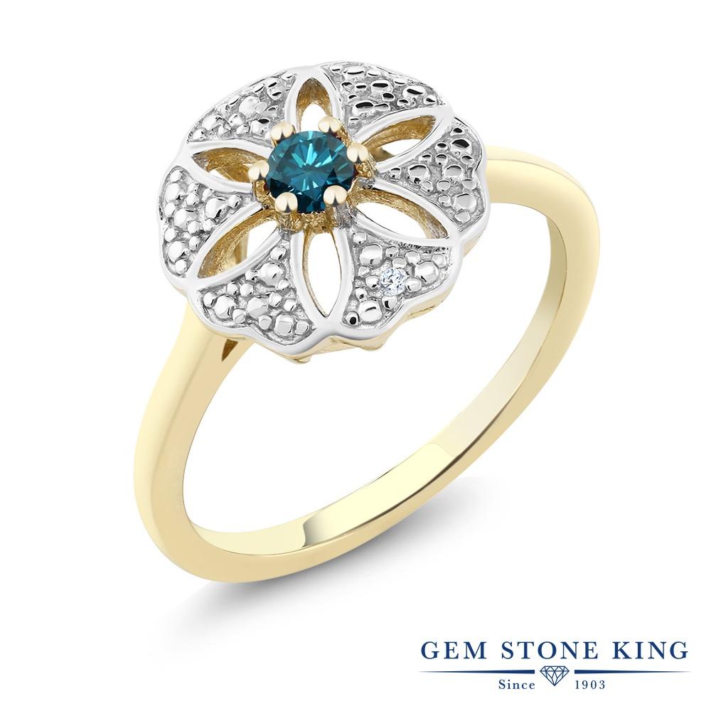 Gem Stone King 0.1カラット 天然 ブルーダイヤモンド シルバー925 イエローゴールドコーティング 指輪 リング レディース ブルー ダイヤ 小粒 シンプル カクテル 天然石 4月 誕生石 金属アレルギー対応 誕生日プレゼント