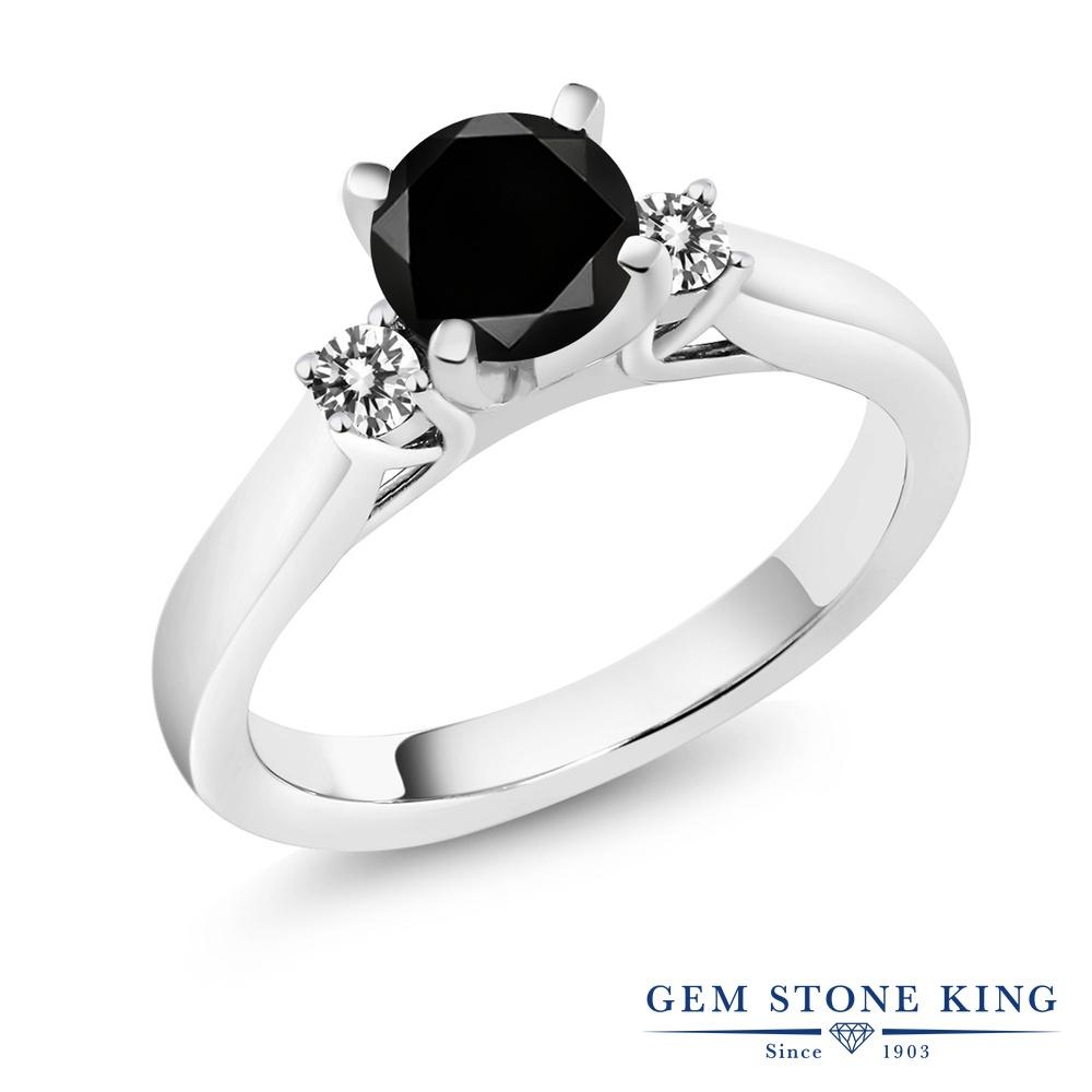 【クーポンで10%OFF】 Gem Stone King 1.25カラット 天然ブラックダイヤモンド シルバー925 指輪 リング レディース ブラック ダイヤ 大粒 スリーストーン シンプル 天然石 4月 誕生石 金属アレルギー対応 誕生日プレゼント