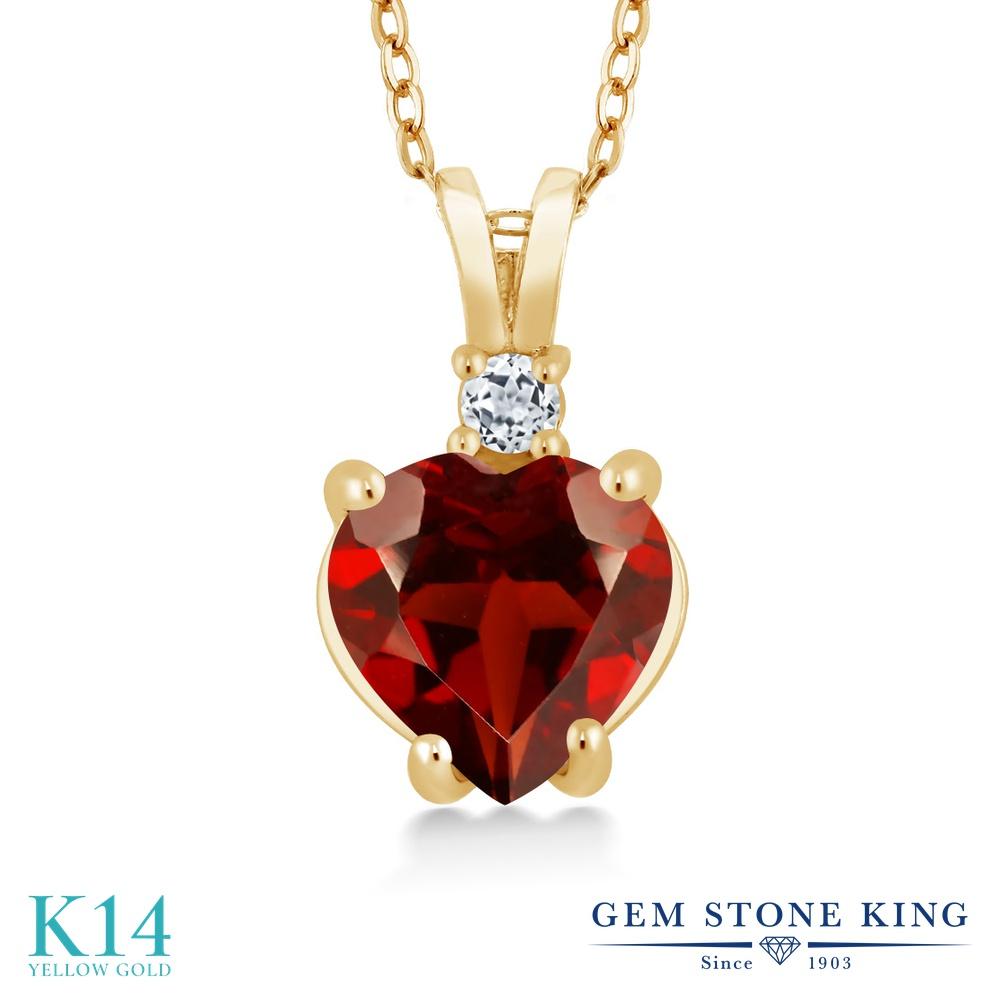 Gem Stone King 2.08カラット 天然 ガーネット 天然 トパーズ (無色透明) 14金 イエローゴールド(K14) ネックレス ペンダント レディース 大粒 シンプル 天然石 1月 誕生石 金属アレルギー対応 誕生日プレゼント