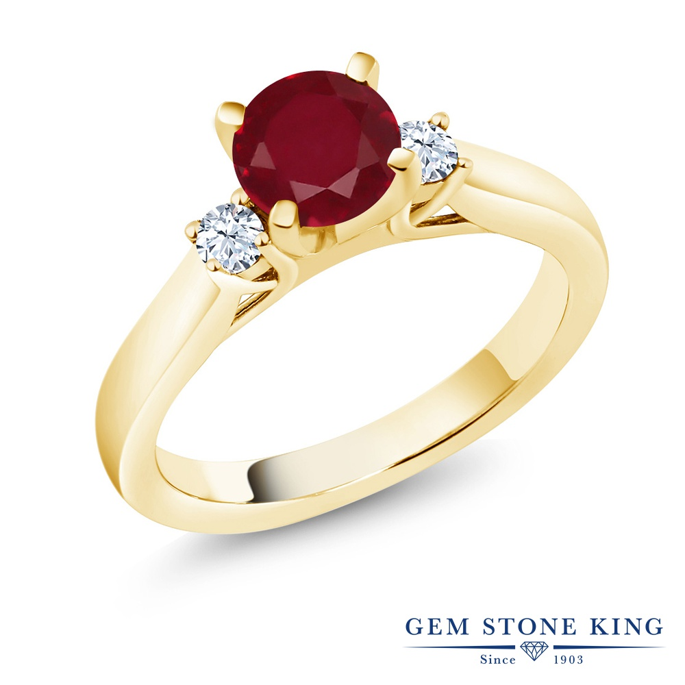 1.22カラット 天然 ルビー 指輪 レディース リング イエローゴールド 加工 シルバー925 ブランド おしゃれ 赤 大粒 シンプル スリーストーン 天然石 7月 誕生石 婚約指輪 エンゲージリング