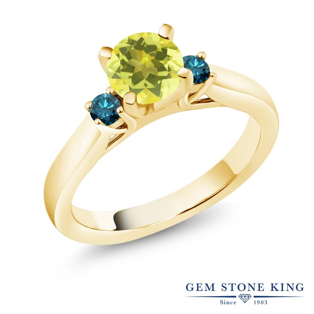 Gem Stone King 1.2カラット 天然石 ミスティックトパーズ (イエロー) 天然 ブルーダイヤモンド シルバー925 イエローゴールドコーティング 指輪 リング レディース 大粒 スリーストーン シンプル 天然石 金属アレルギー対応 誕生日プレゼント
