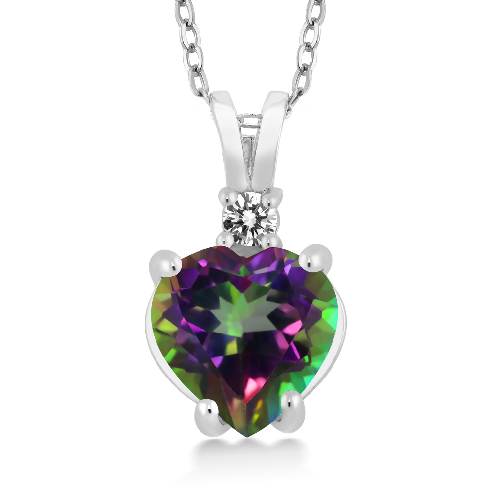 2.57カラット 天然石 ミスティックトパーズ (グリーン) 天然 ダイヤモンド ネックレス レディース 14金 ホワイトゴールド K14 ペンダント 大粒 シンプル プレゼント 女性 彼女 妻 誕生日