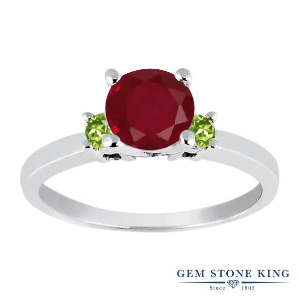 Gem Stone King 1.19カラット 天然 ルビー 天然石 ペリドット シルバー925 指輪 リング レディース 大粒 シンプル スリーストーン 天然石 7月 誕生石 金属アレルギー対応 婚約指輪 エンゲージリング
