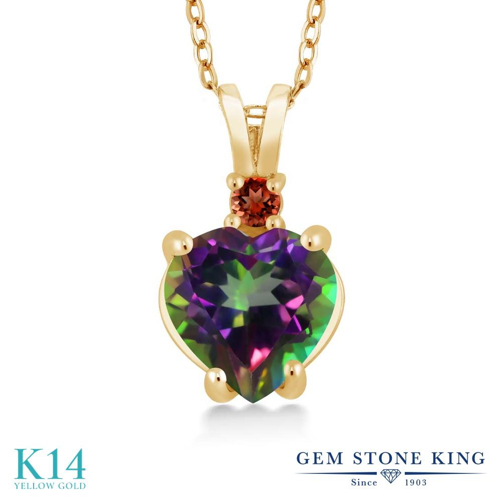 Gem Stone King 2.54カラット 天然石 ミスティックトパーズ (グリーン) 天然 ガーネット 14金 イエローゴールド(K14) ネックレス ペンダント レディース 大粒 シンプル 天然石 金属アレルギー対応 誕生日プレゼント