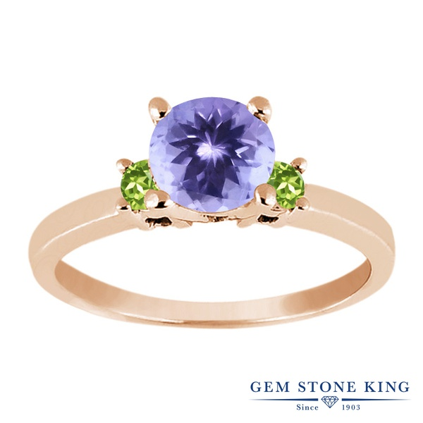 Gem Stone King 1.04カラット 天然石 タンザナイト 天然石 ペリドット シルバー925 ピンクゴールドコーティング 指輪 リング レディース シンプル スリーストーン 天然石 12月 誕生石 金属アレルギー対応 誕生日プレゼント