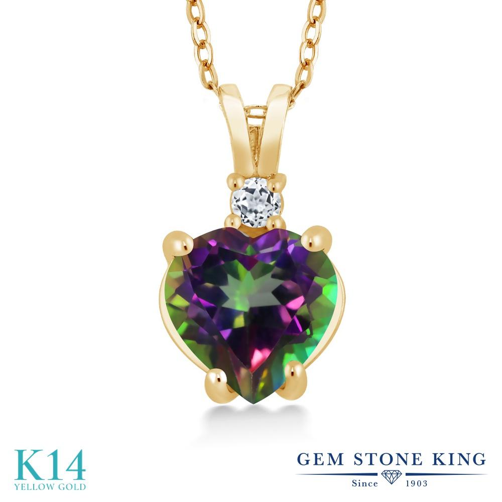 Gem Stone King 2.58カラット 天然石 ミスティックトパーズ (グリーン) 天然 トパーズ (無色透明) 14金 イエローゴールド(K14) ネックレス ペンダント レディース 大粒 シンプル 天然石 金属アレルギー対応 誕生日プレゼント