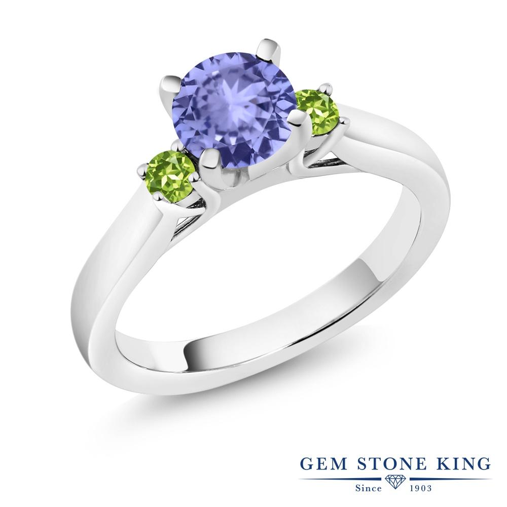Gem Stone King 1.04カラット 天然石 タンザナイト 天然石 ペリドット シルバー925 指輪 リング レディース シンプル スリーストーン 天然石 12月 誕生石 金属アレルギー対応 婚約指輪 エンゲージリング
