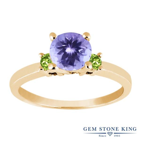 Gem Stone King 1.04カラット 天然石 タンザナイト 天然石 ペリドット シルバー925 イエローゴールドコーティング 指輪 リング レディース シンプル スリーストーン 天然石 12月 誕生石 金属アレルギー対応 誕生日プレゼント