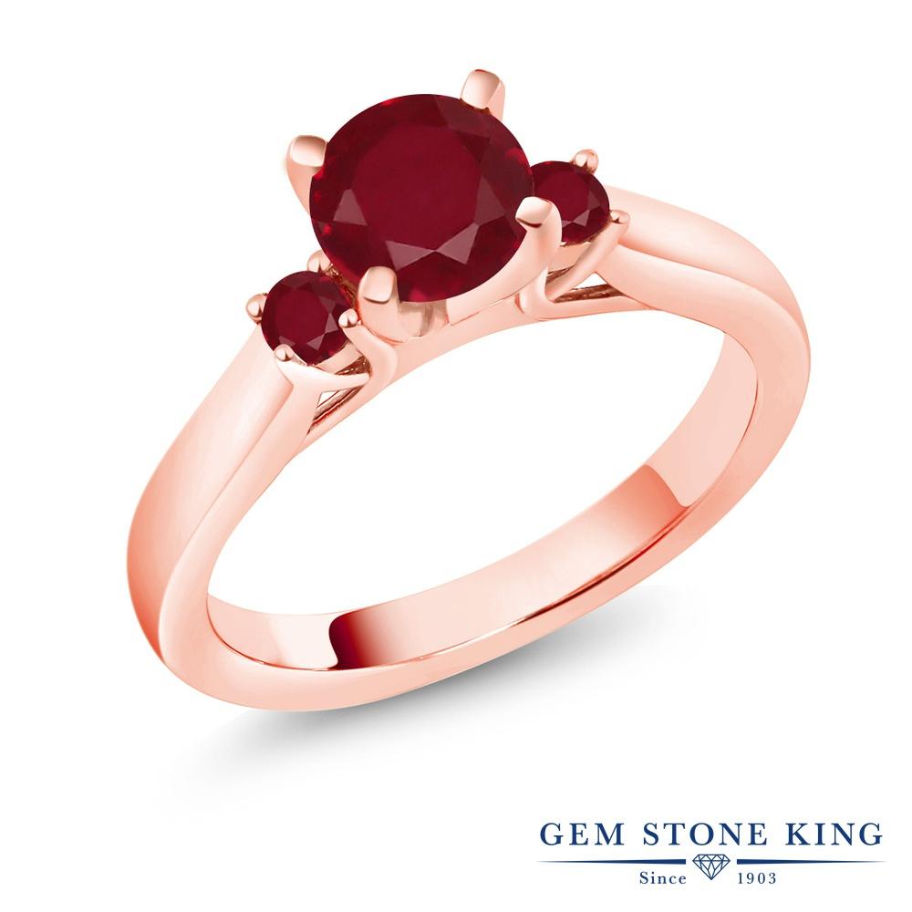 Gem Stone King 1.33カラット 天然 ルビー シルバー925 ピンクゴールドコーティング 指輪 リング レディース 大粒 スリーストーン シンプル 天然石 7月 誕生石 金属アレルギー対応 誕生日プレゼント