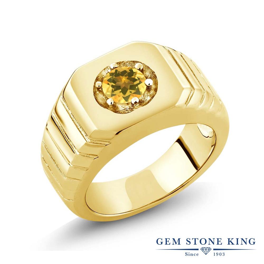 0.45カラット 天然 シトリン 指輪 レディース リング イエローゴールド 加工 シルバー925 ブランド おしゃれ 一粒 黄色 小粒 シンプル 太め 太い ソリティア 天然石 11月 誕生石 金属アレルギー対応