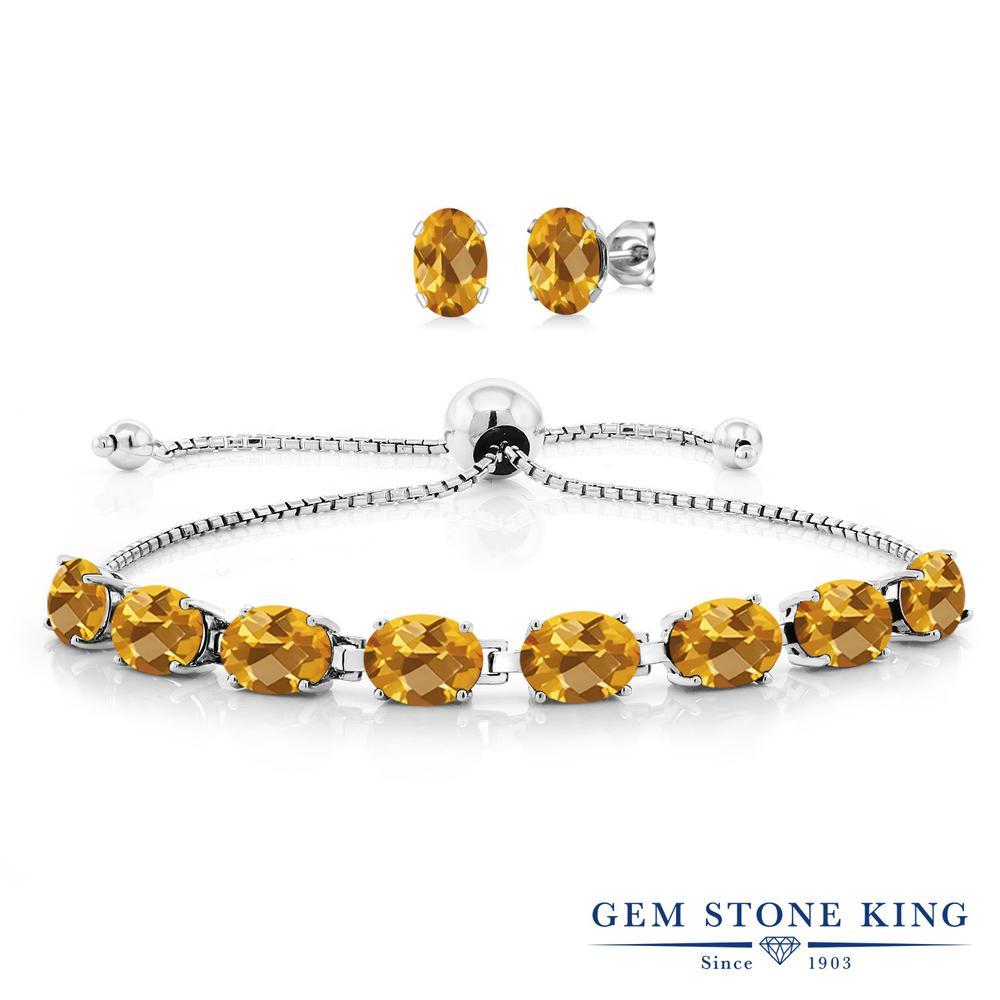 Gem Stone King 11.4カラット 天然 シトリン シルバー925 ピアス&ブレスレットのセット テニスブレスレット レディース 大粒 天然石 11月 誕生石 金属アレルギー対応 誕生日プレゼント