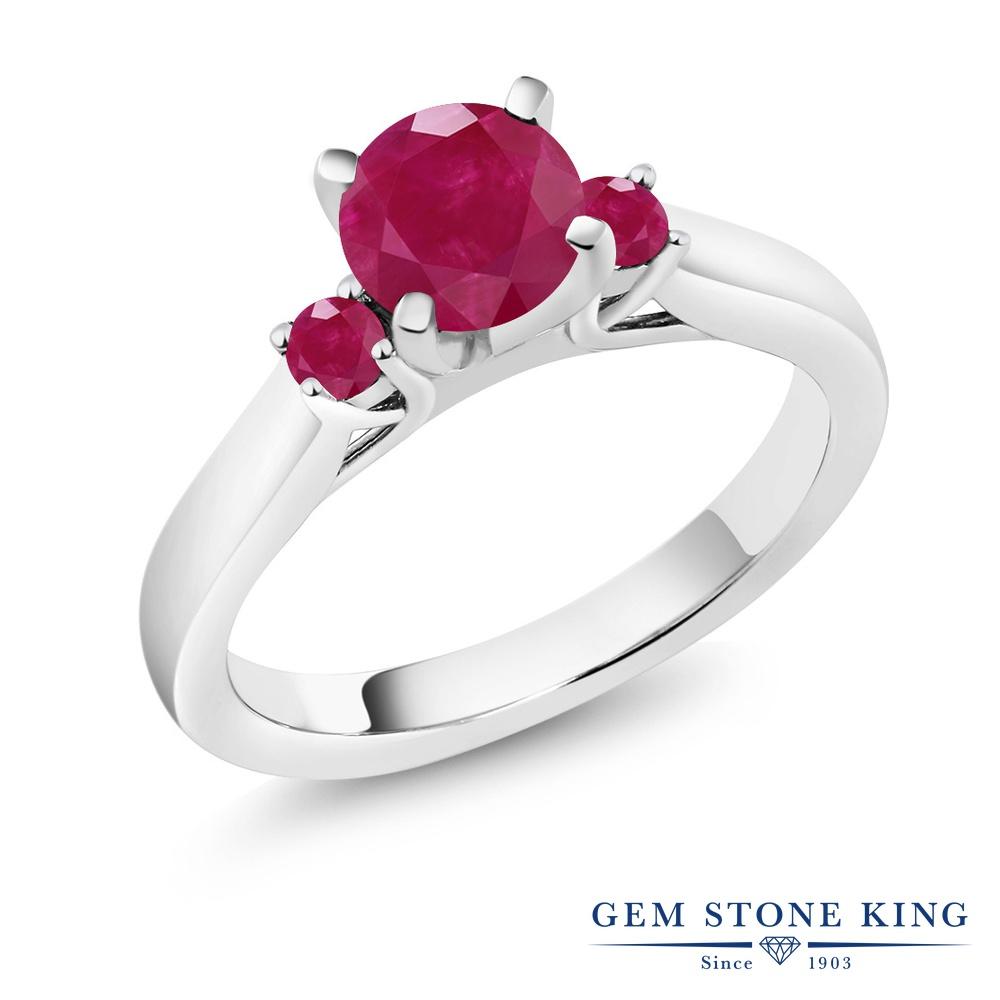 1.33カラット 天然 ルビー 指輪 レディース リング シルバー925 ブランド おしゃれ スリーストーン 赤 大粒 シンプル 天然石 7月 誕生石 婚約指輪 エンゲージリング