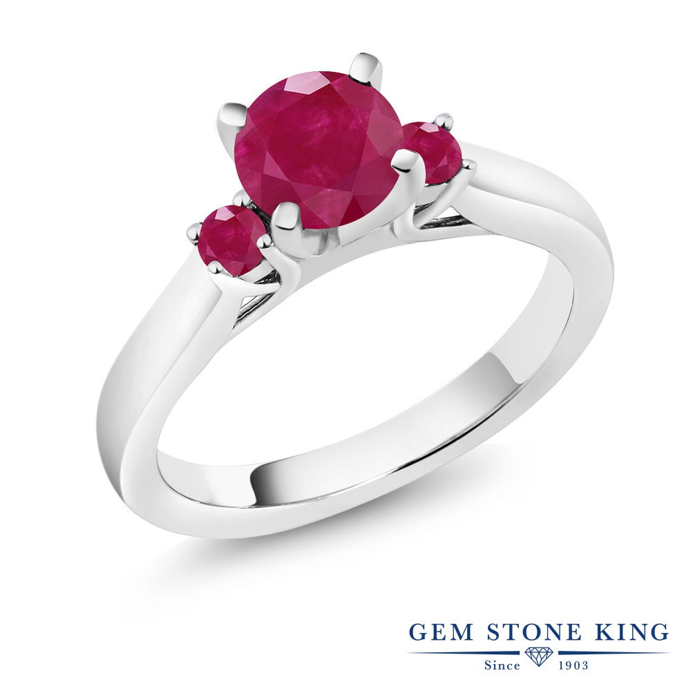 Gem Stone King 1.33カラット 天然 ルビー シルバー925 指輪 リング レディース 大粒 スリーストーン シンプル 天然石 7月 誕生石 金属アレルギー対応 誕生日プレゼント