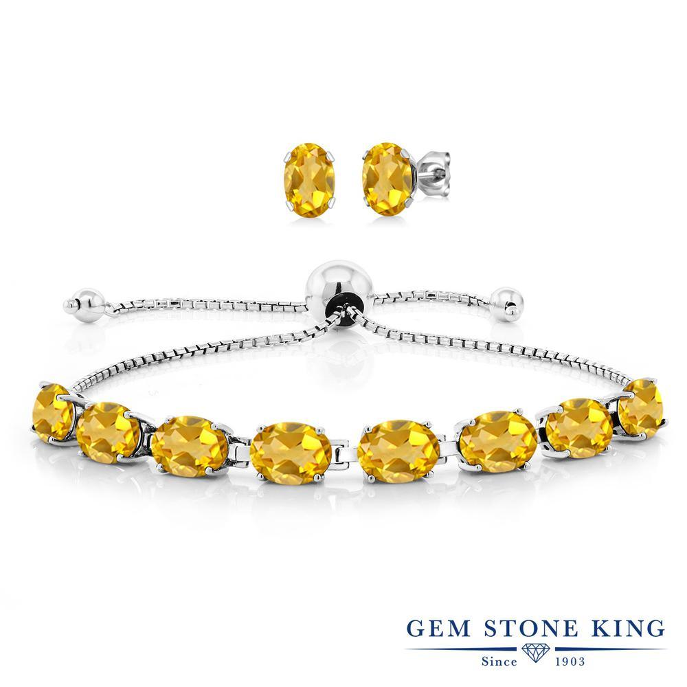 Gem Stone King 11.6カラット 天然 シトリン シルバー925 ピアス&ブレスレットのセット テニスブレスレット レディース 大粒 天然石 11月 誕生石 金属アレルギー対応 誕生日プレゼント