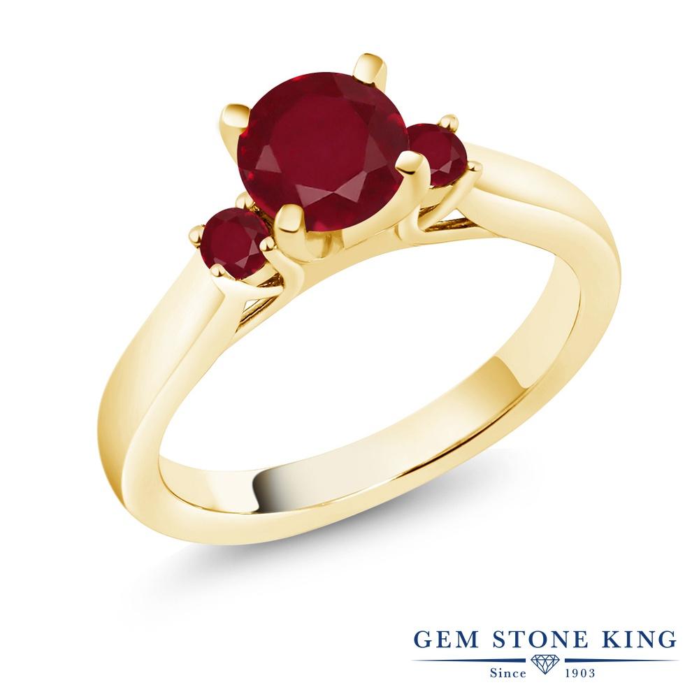【10%OFF】 Gem Stone King 1.33カラット 天然 ルビー 指輪 リング レディース シルバー925 イエローゴールド 加工 大粒 スリーストーン シンプル 天然石 7月 誕生石 婚約指輪 エンゲージリング