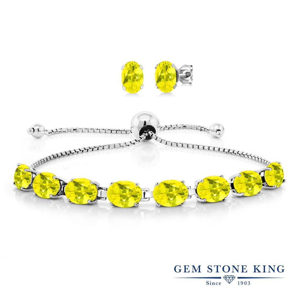 Gem Stone King 12カラット 天然石 ミスティックトパーズ (イエロー) シルバー925 ピアス&ブレスレットのセット テニスブレスレット レディース 大粒 天然石 金属アレルギー対応 誕生日プレゼント