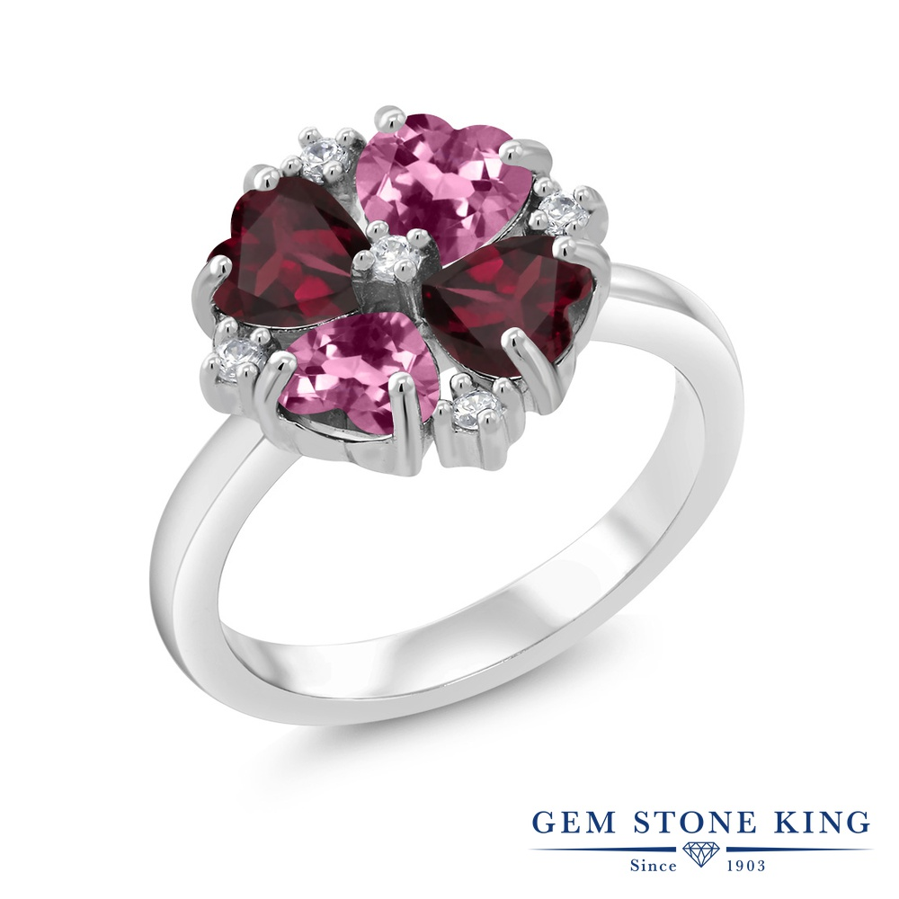 Gem Stone King 2.06カラット 天然 ピンクトルマリン 天然 ロードライトガーネット シルバー925 指輪 リング レディース 小粒 カクテル 天然石 10月 誕生石 金属アレルギー対応 誕生日プレゼント