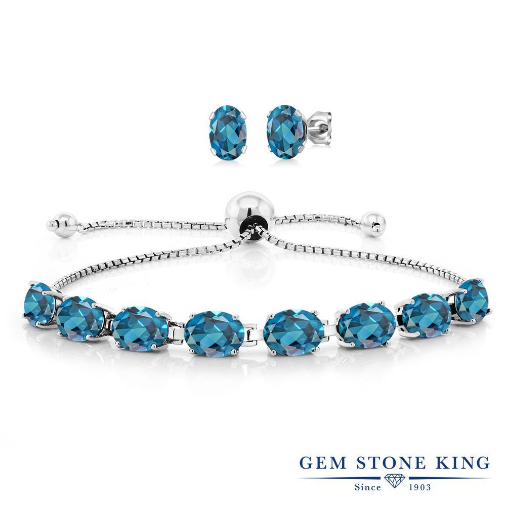 Gem Stone King 12.2カラット 天然 ロンドンブルートパーズ シルバー925 ピアス&ブレスレットのセット テニスブレスレット レディース 大粒 天然石 11月 誕生石 金属アレルギー対応 誕生日プレゼント