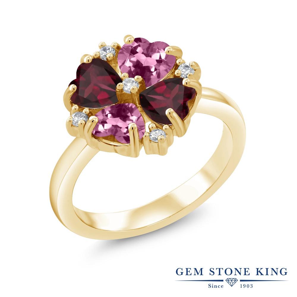 Gem Stone King 2.06カラット 天然 ピンクトルマリン 天然 ロードライトガーネット シルバー925 イエローゴールドコーティング 指輪 リング レディース 小粒 カクテル 天然石 10月 誕生石 金属アレルギー対応 誕生日プレゼント