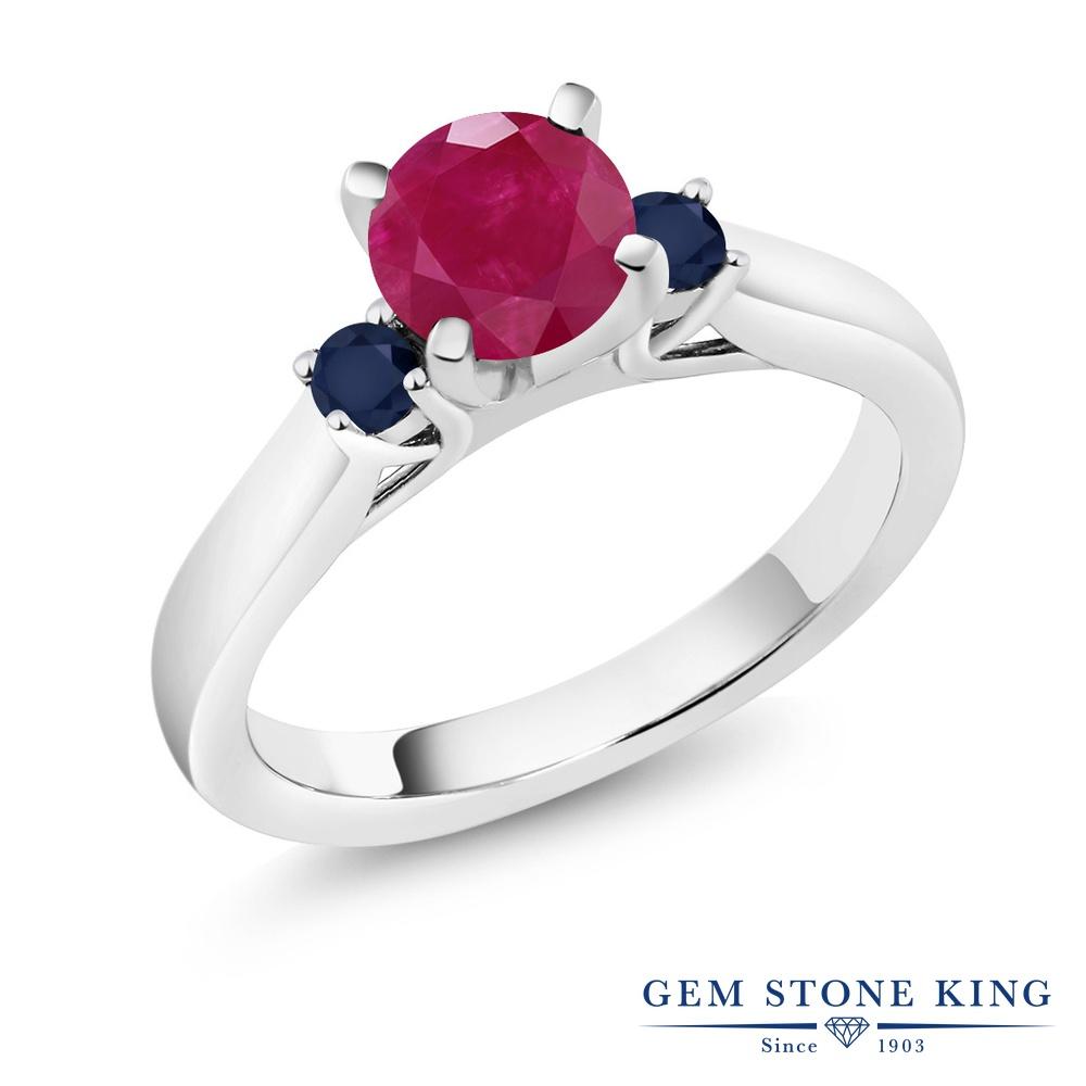 Gem Stone King 1.26カラット 天然 ルビー 天然 サファイア シルバー925 指輪 リング レディース 大粒 スリーストーン シンプル 天然石 7月 誕生石 金属アレルギー対応 誕生日プレゼント