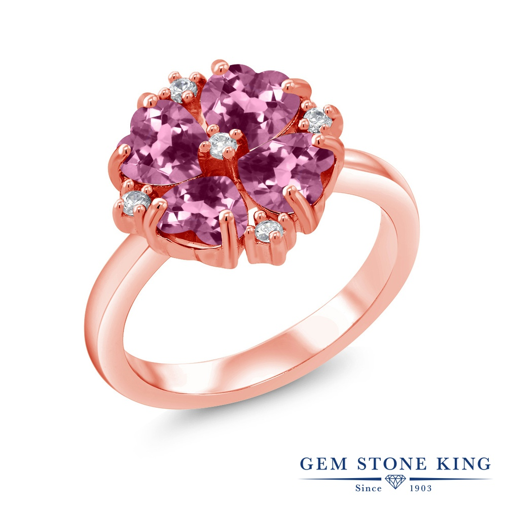 Gem Stone King 1.84カラット 天然 ピンクトルマリン シルバー925 ピンクゴールドコーティング 指輪 リング レディース 小粒 カクテル 天然石 10月 誕生石 金属アレルギー対応 誕生日プレゼント