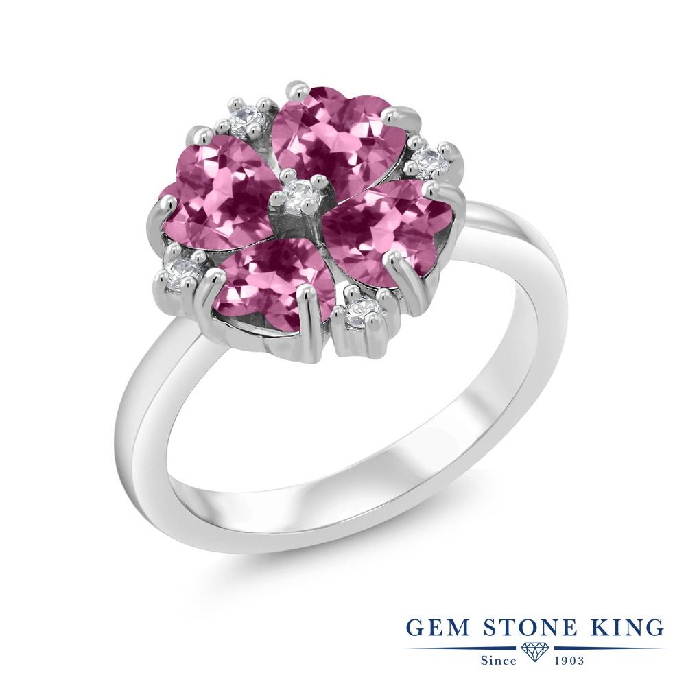 Gem Stone King 1.84カラット 天然 ピンクトルマリン シルバー925 指輪 リング レディース 小粒 カクテル 天然石 10月 誕生石 金属アレルギー対応 誕生日プレゼント